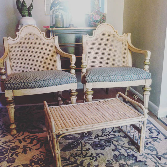 Thrift Score Thursday feature vintage Drexel chairs and rattan foot stool via love_recycled