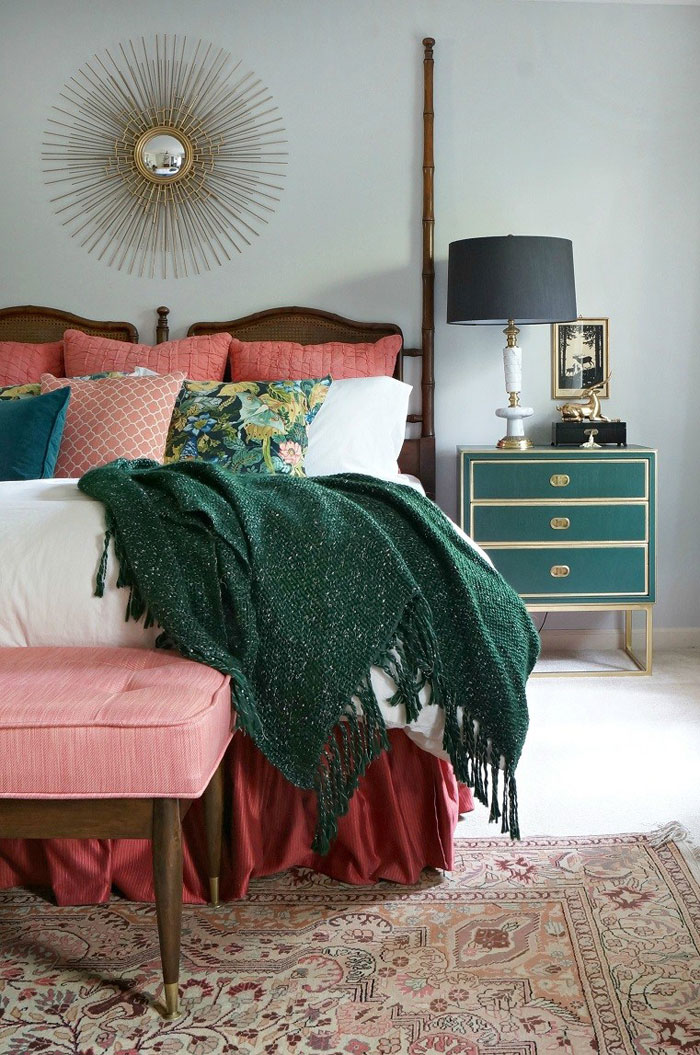 Vintage Henredon faux bamboo headboard and Mid Century bench via Maggie Overby Studios
