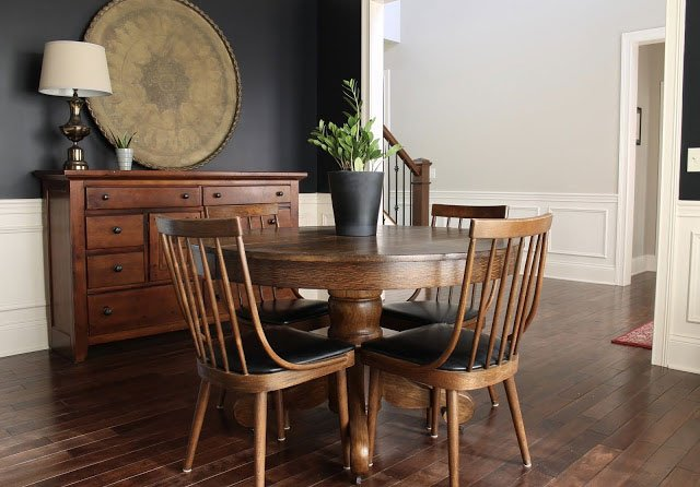 Vintage Richardson-Nemschoff dining chairs and oak pedestal table via 58 Water Street