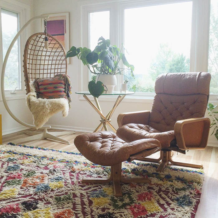 Vintage Vatne Mobler Chair and Wicker Egg Chair via Doug Fritock