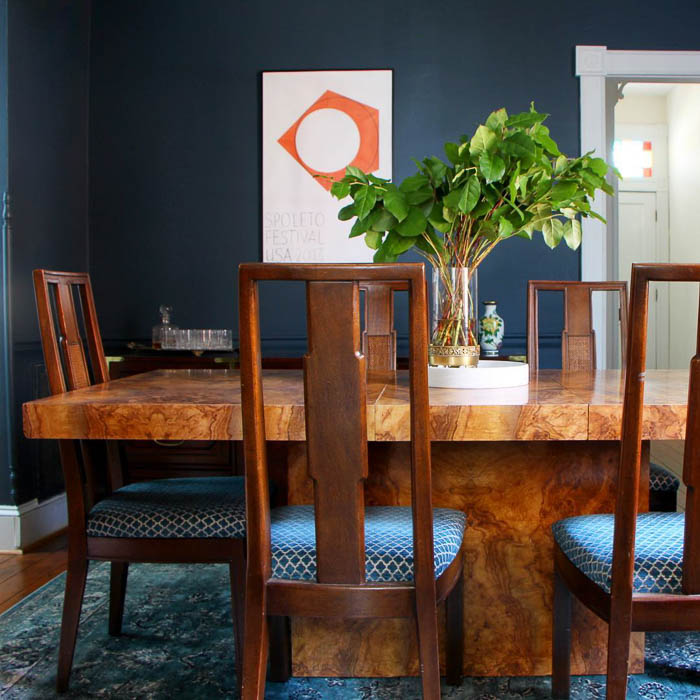 Vintage burl dining room table via Scotch & Nonsense