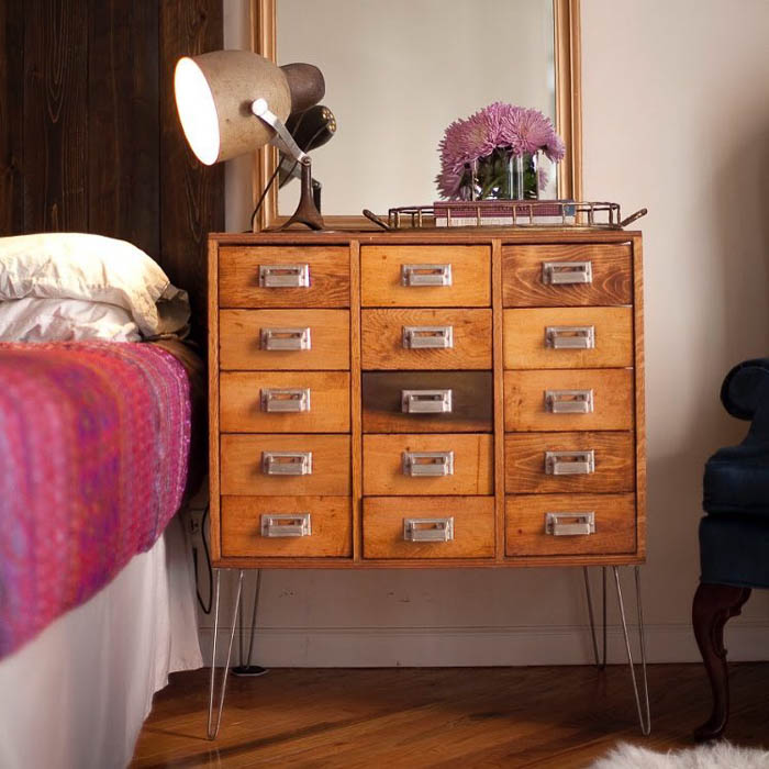 Vintage card catalog night stand via South Loop Loft