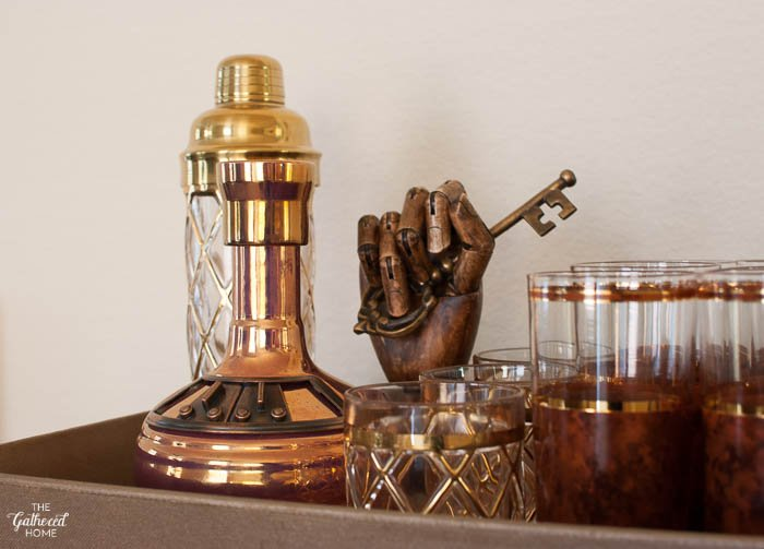 Vintage glassware + mixed metals.
