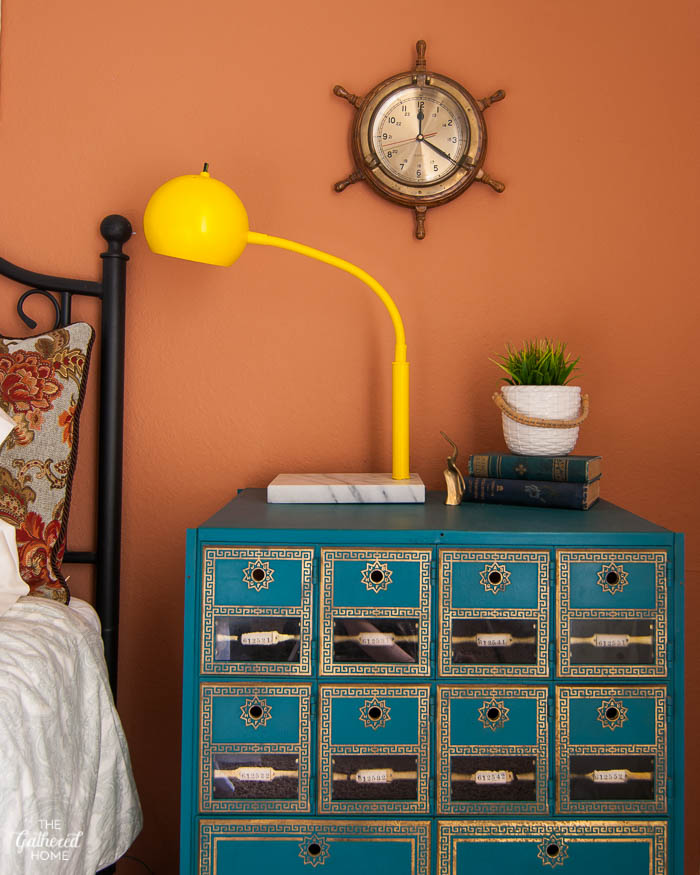 vintage post office box as a night stand in the guest bedroom