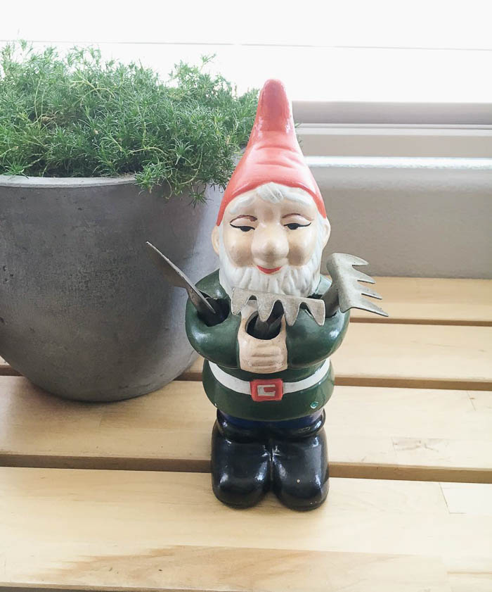 Thrift Score Thursday feature garden gnome via moxandmolly