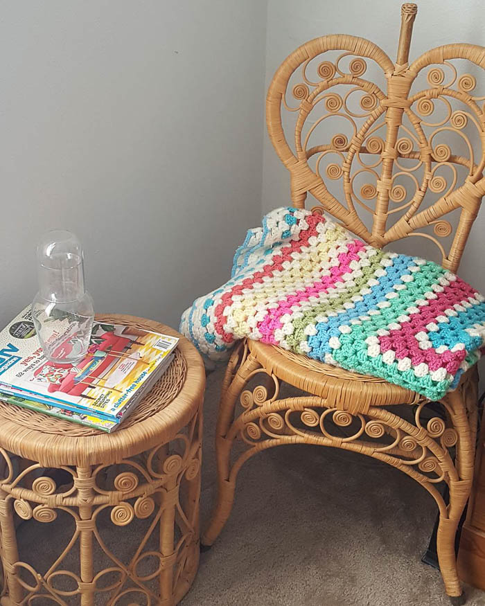 Thrift Score Thursday feature wicker rattan chair and table via teranj26