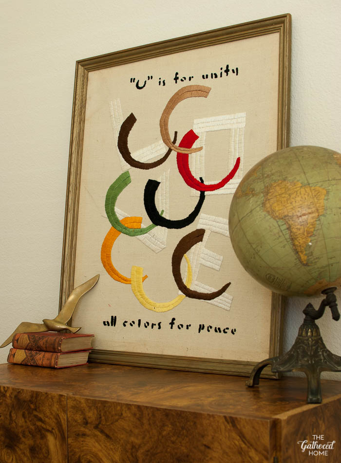 U is for Unity All Colors for Peace vintage embroidered art-2