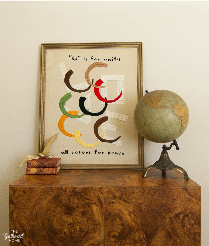 U is for Unity All Colors for Peace vintage embroidered art