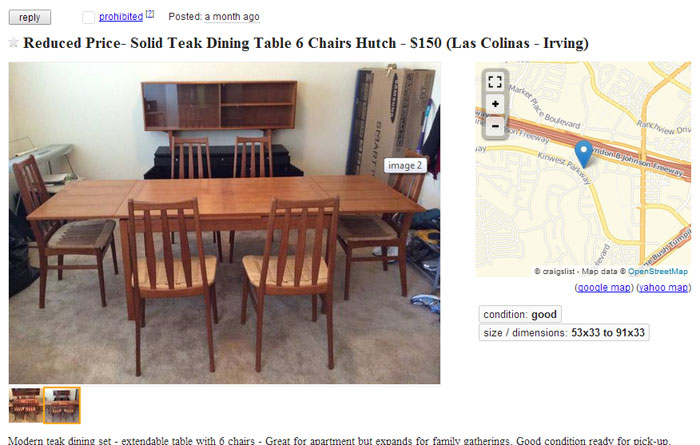 Teak Dining Set Craigslist Posting