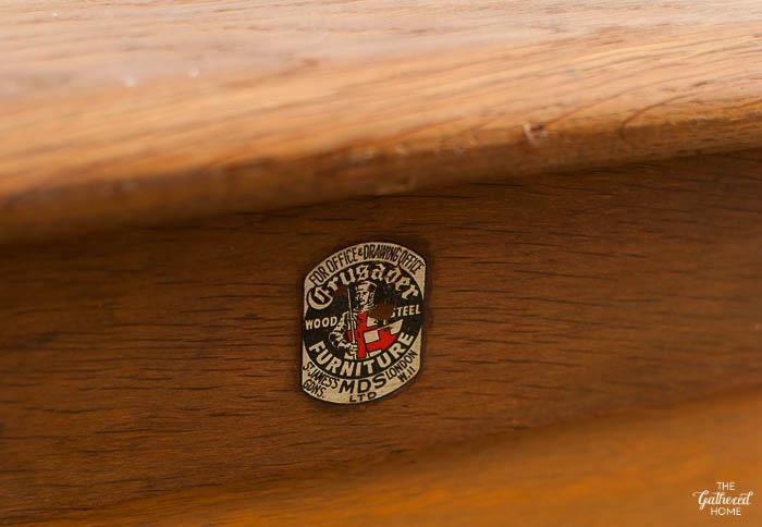 Antique oak flat file cabinet coffee table
