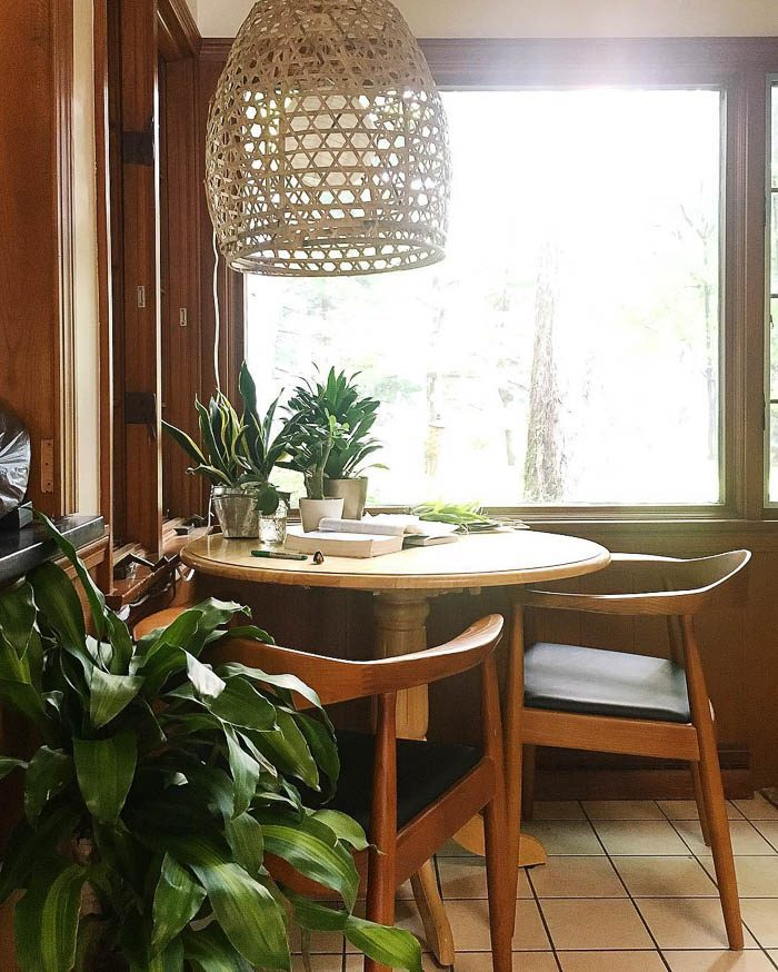 Thrift Score Thursday feature mid century chairs and rattan pendant light via susiebrown