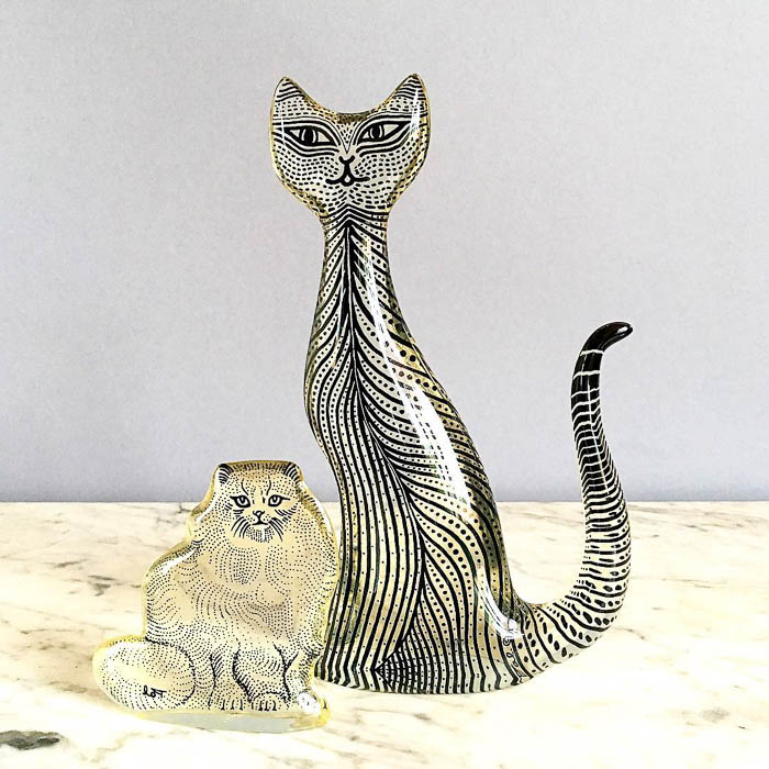 Thrift Score Thursday feature vintage Abraham Palatnik lucite cat figurines
