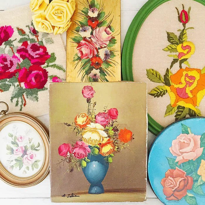 Thrift Score Thursday feature vintage floral paintings and embroidery via findofthecentury