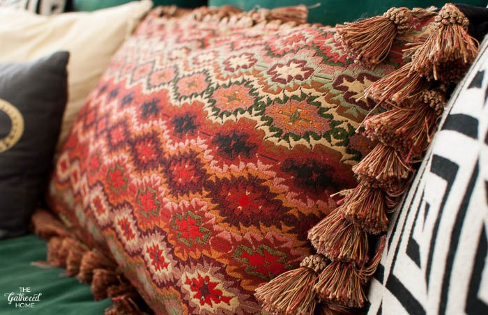 Thrift Score Thursday tapestry pillow with tassels