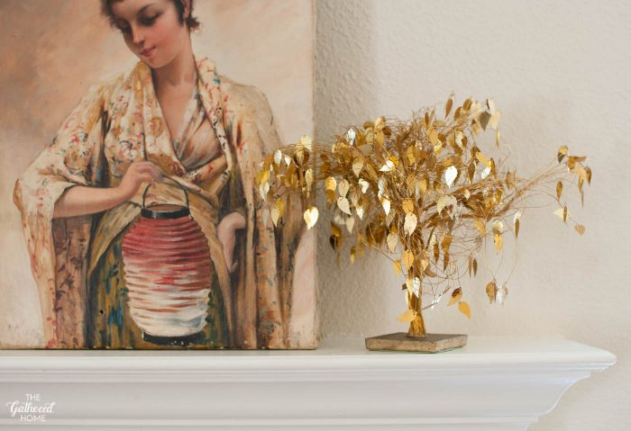Vintage Brass Leaf Wire Tree-2