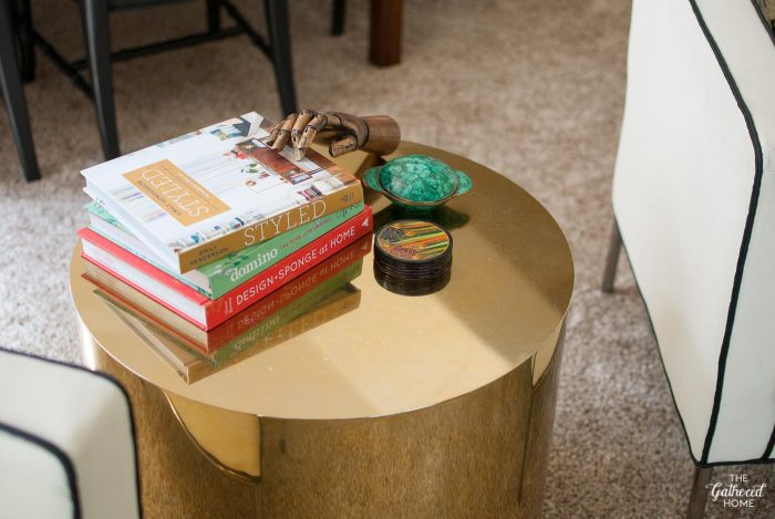 Brass drum table by Paul Mayen for Habitat, Architectural Solutions