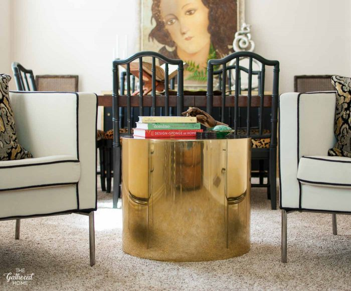 Cylinder brass drum table by Paul Mayen for Habitat