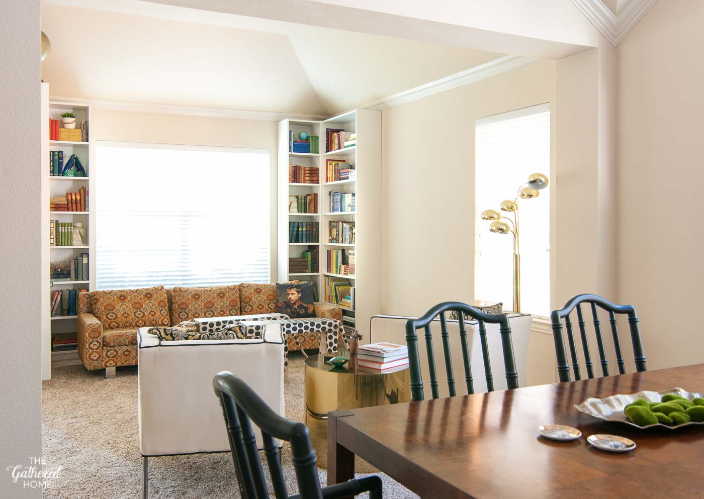 Dining room into library dining room turned library for Schrank 120 hoch