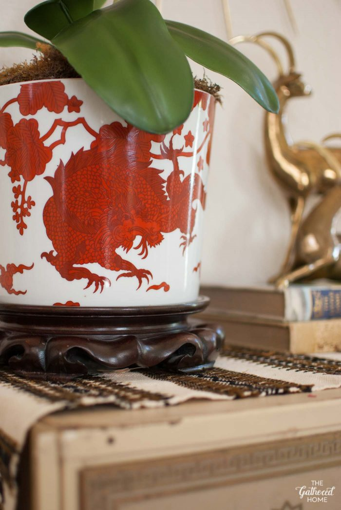 """Fitz & Floyd """"Temple Dragon"""" planter + wooden plant stand"""