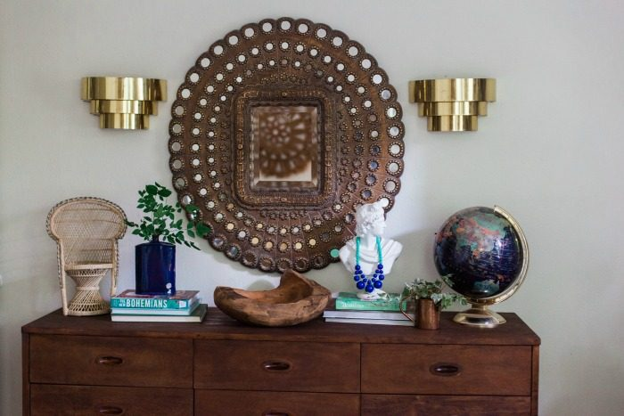 Jewel-toned globe in a glam bedroom, via Claire Brody Designs