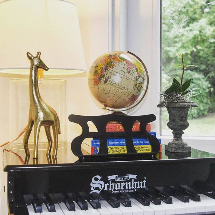 Vintage globe on miniature baby grand piano, via therathproject