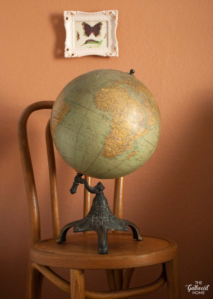 1930's globe with ornate iron base, The Gathered Home