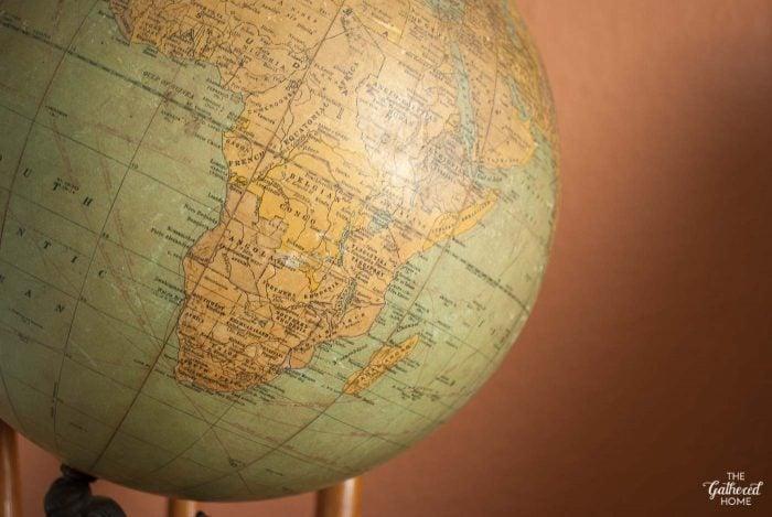 Closeup of a 1930's globe, via The Gathered Home