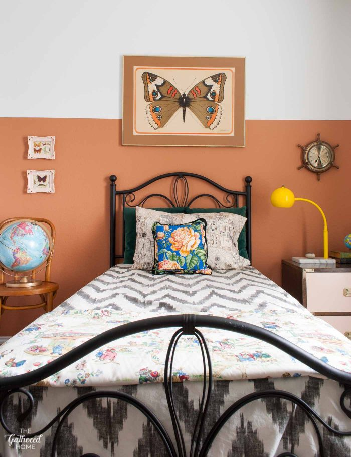 Vintage globe in the Nautical Naturalist guest bedroom, The Gathered Home