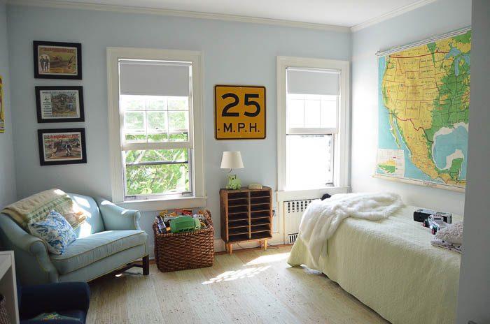 Vintage hanging map in boy's bedroom via Ciburbanity