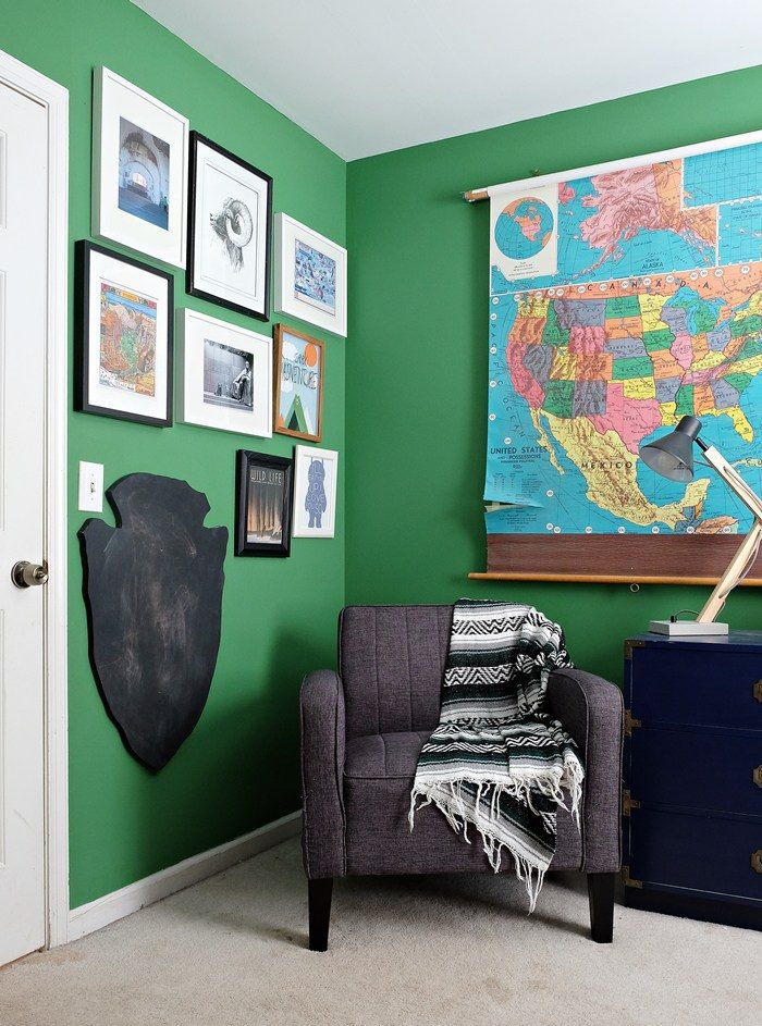 Vintage school map of the United States in boy's bedroom, via Boxy Colonial