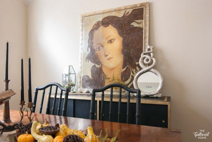 Halloween dining room sideboard decor... Are you watching closely?