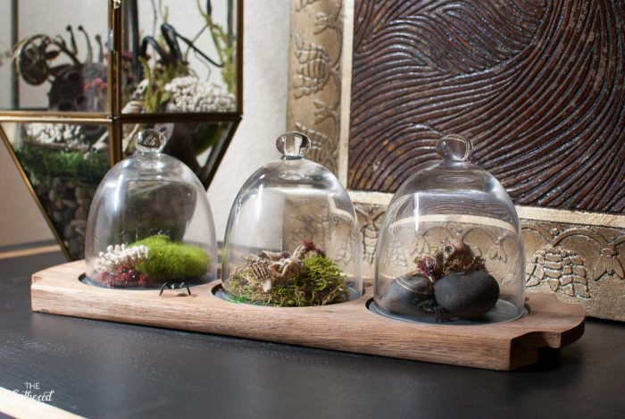 Each mini dome in this terrarium display holds a macabre moment.