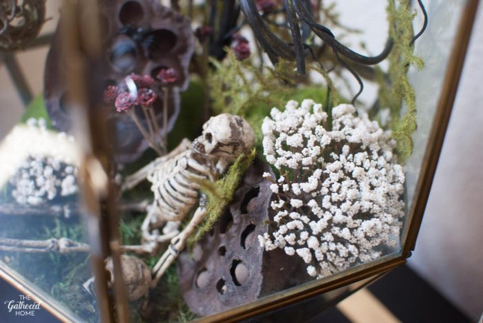 Inside this terrarium, teeny skeletons are swallowed up by wild natural elements.