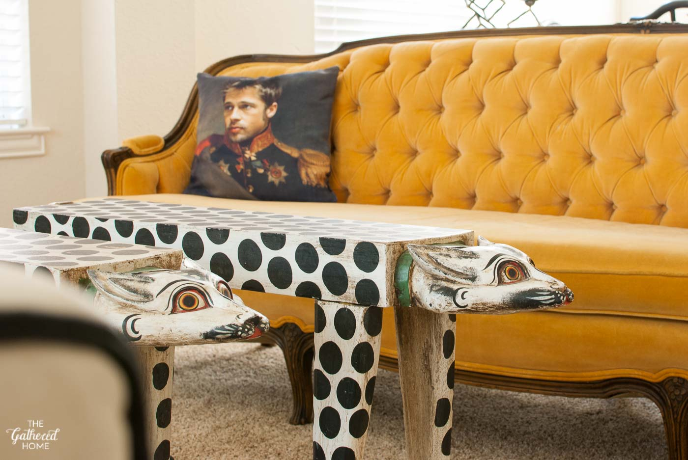 Hand Carved Asian Leopard Tables With Antique Yellow