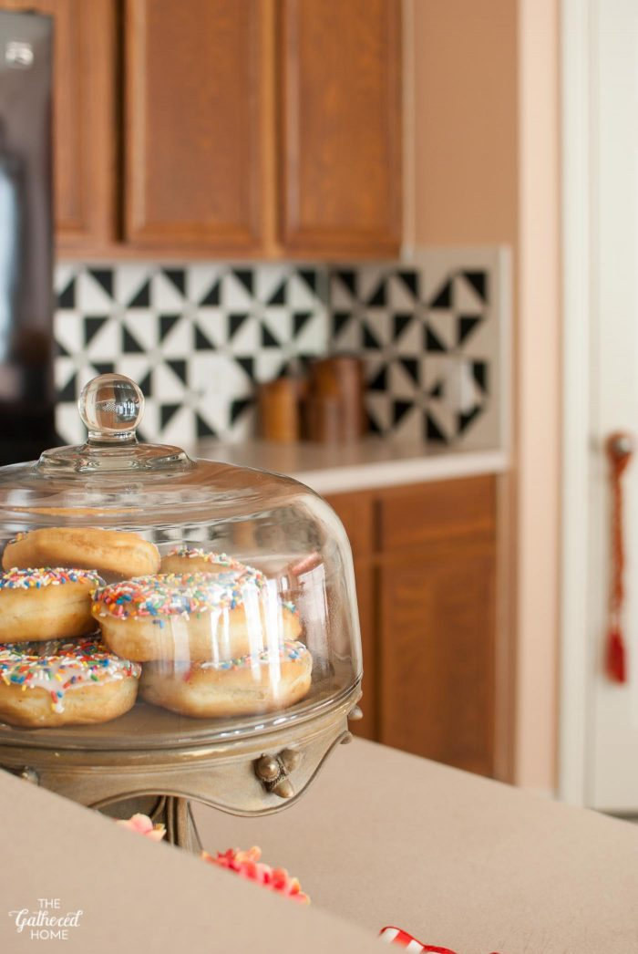 Sprinkle donuts with pink kitchen walls