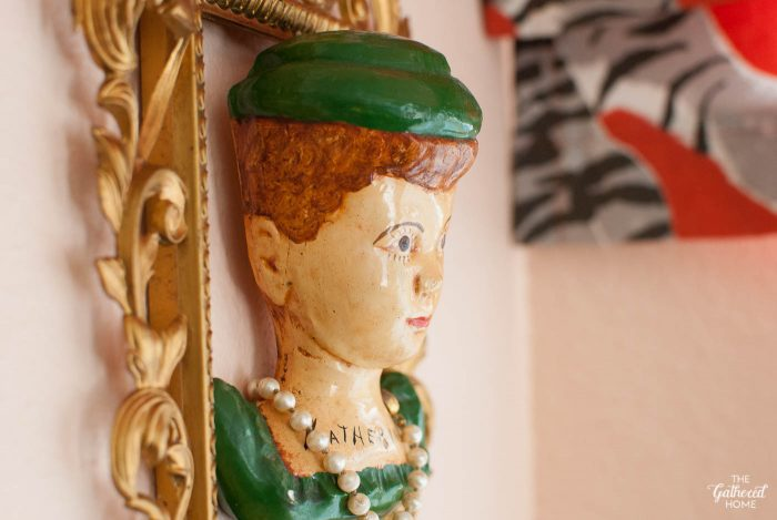 Closeup of vintage chalkware bust,