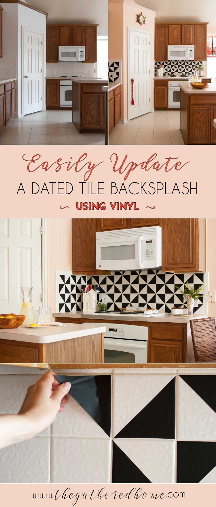 I LOVE the look of trendy black and white cement tiles! This DIY kitchen backsplash makeover uses VINYL to get a similar look - what?! Best of all, it's EASY and SUPER affordable!