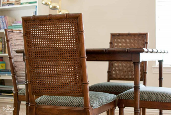 Faux Bamboo Cane Back Dining Chairs 2