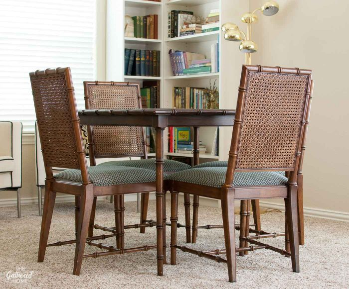 Faux Bamboo Cane Back Dining Chairs