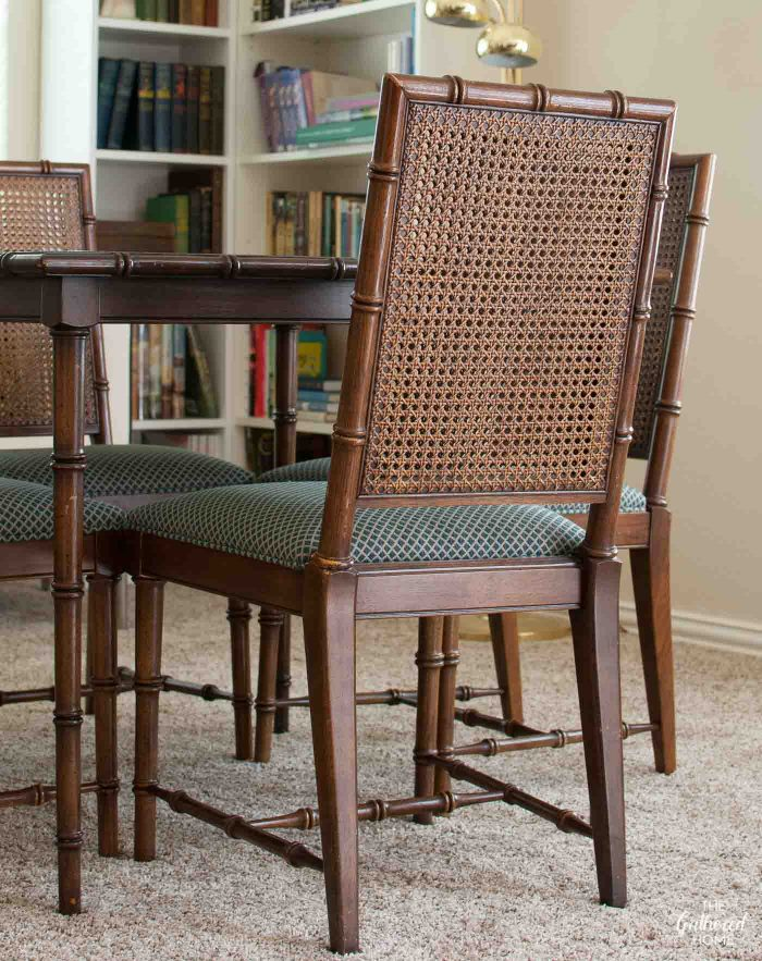 Faux Bamboo Dining Chairs With Double Cane Backs