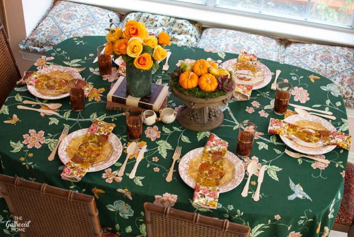 """Granny Chic"" mixed florals Thanksgiving table setting"