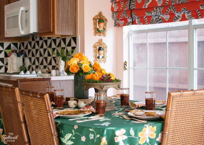 Mix and match bold floral and vintage treasures to create this fun Thanksgiving table!