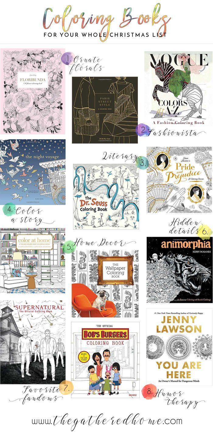 Coloring books are enjoying a surge of popularity these days - just look at all these fantastic options! There's something for everyone on your Christmas list in this gift guide, plus ideas for the perfect coloring supply gifts too!