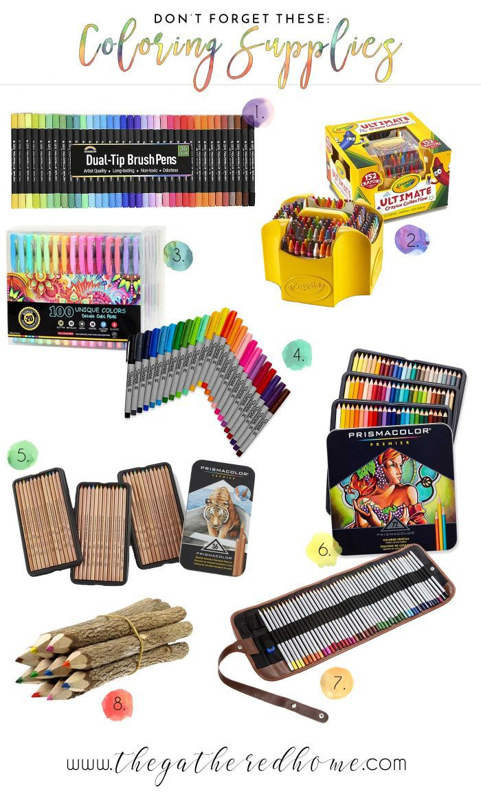 This gift guide has TONS of amazing coloring book gift ideas, plus these eight perfect pairings! Markers, crayons, pencils, gel pens - everyone's favorite coloring supplies!