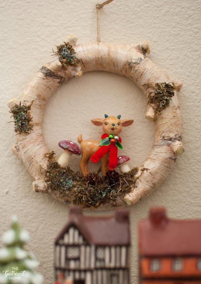 Retro birch-bark wreath