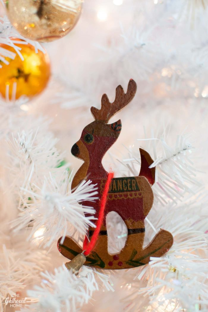 "Childhood favorite: wooden ""Dancer"" reindeer ornament"