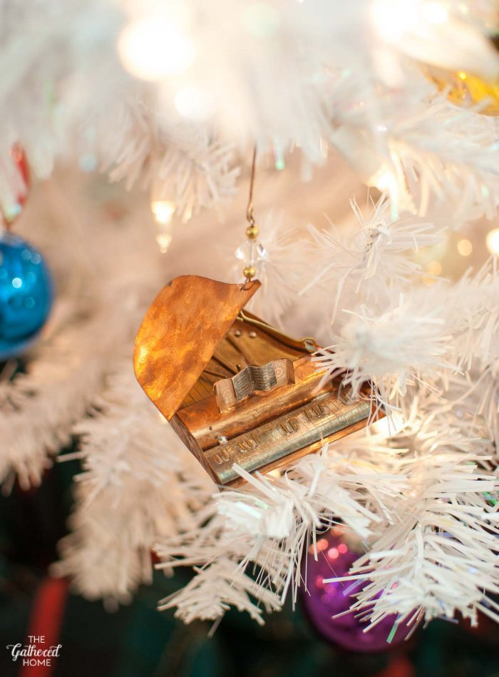 Copper and brass piano Christmas tree ornament