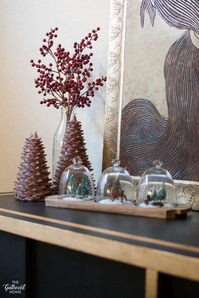 "Create mini ""snow globe"" displays inside tiny glass cloches!"
