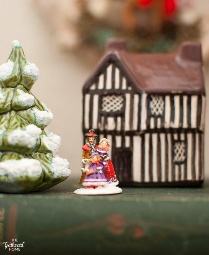 Mini Christmas village with thrifted Mudlen End cottages and a mini ceramic Christmas tree