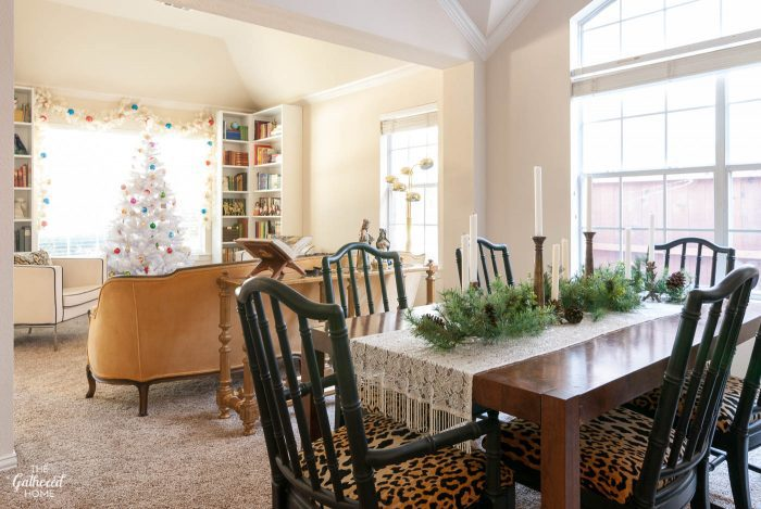 Christmas dining room and adjoining library